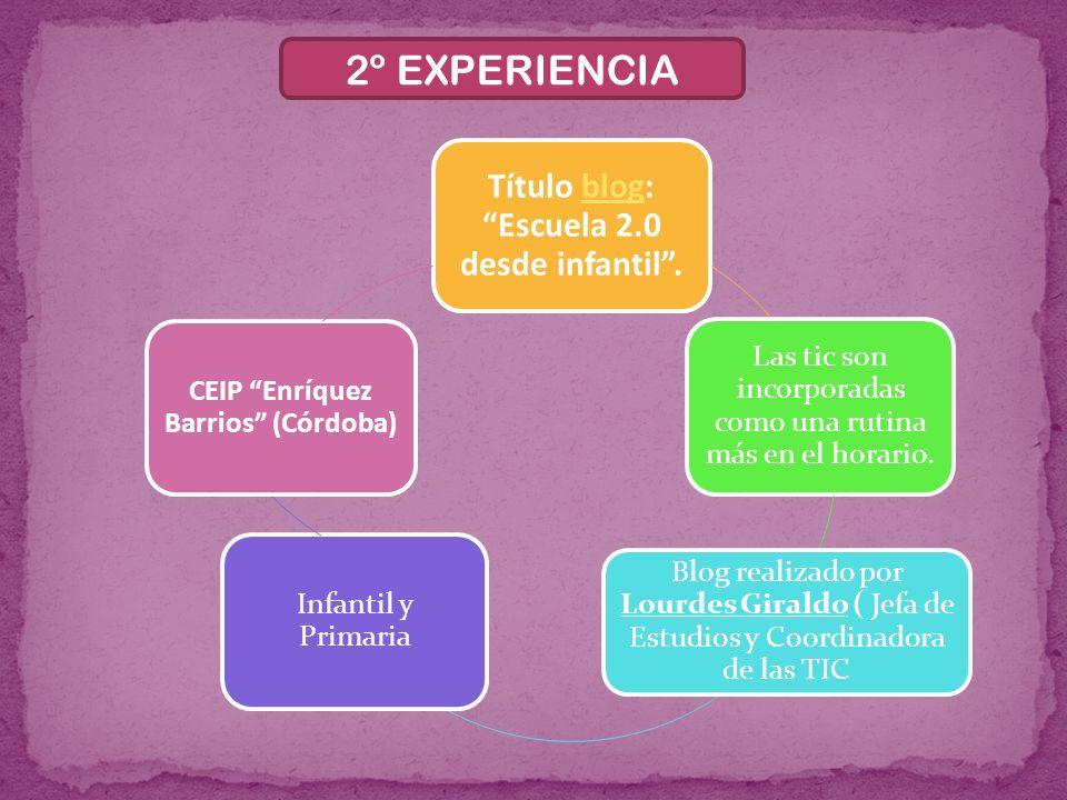 2º EXPERIENCIA Título blog: Escuela 2.0 desde infantil.blog Las tic son incorporadas como una rutina más en el horario. Blog realizado por Lourdes Gir