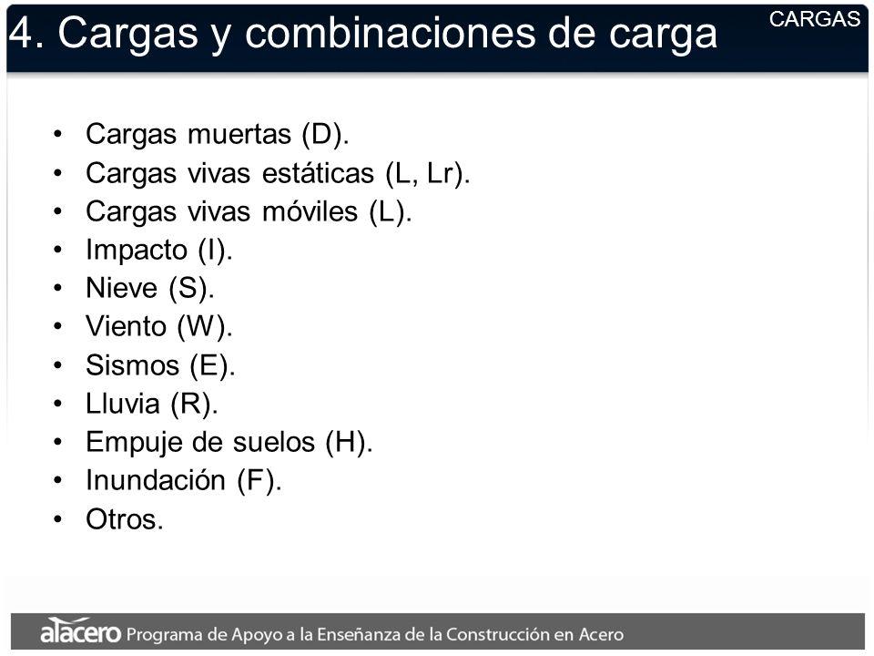 4. Cargas y combinaciones de carga Cargas muertas (D). Cargas vivas estáticas (L, Lr). Cargas vivas móviles (L). Impacto (I). Nieve (S). Viento (W). S
