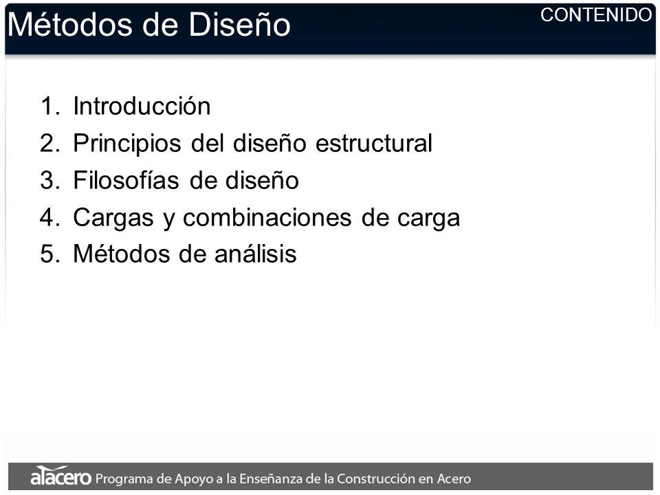 CONTENIDO Métodos de Diseño 1.Introducción 2.Principios del diseño estructural 3.Filosofías de diseño 4.Cargas y combinaciones de carga 5.Métodos de a
