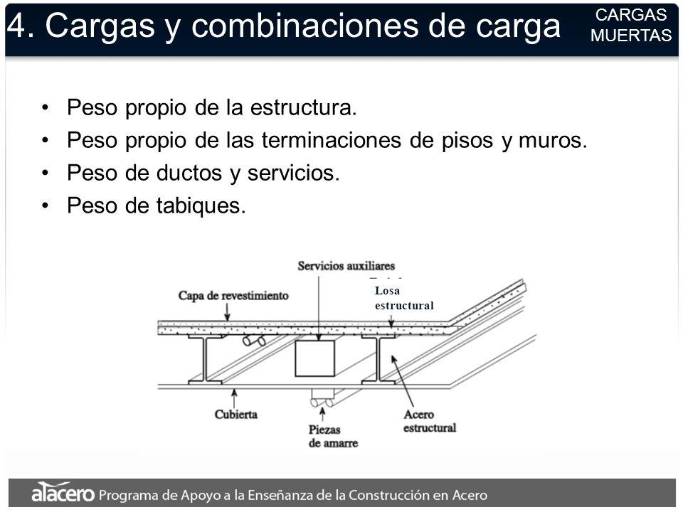4. Cargas y combinaciones de carga Peso propio de la estructura. Peso propio de las terminaciones de pisos y muros. Peso de ductos y servicios. Peso d