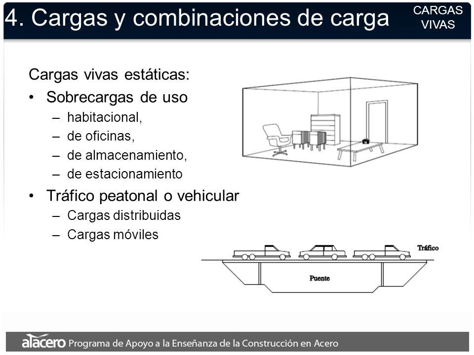 4. Cargas y combinaciones de carga Cargas vivas estáticas: Sobrecargas de uso –habitacional, –de oficinas, –de almacenamiento, –de estacionamiento Trá