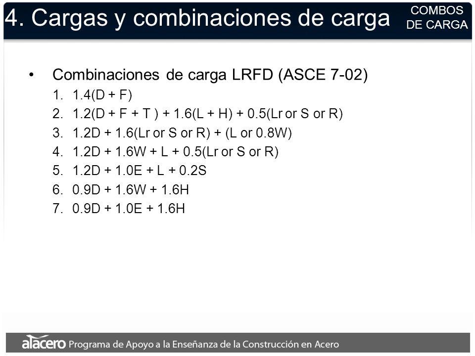 4. Cargas y combinaciones de carga Combinaciones de carga LRFD (ASCE 7-02) 1.1.4(D + F) 2.1.2(D + F + T ) + 1.6(L + H) + 0.5(Lr or S or R) 3.1.2D + 1.