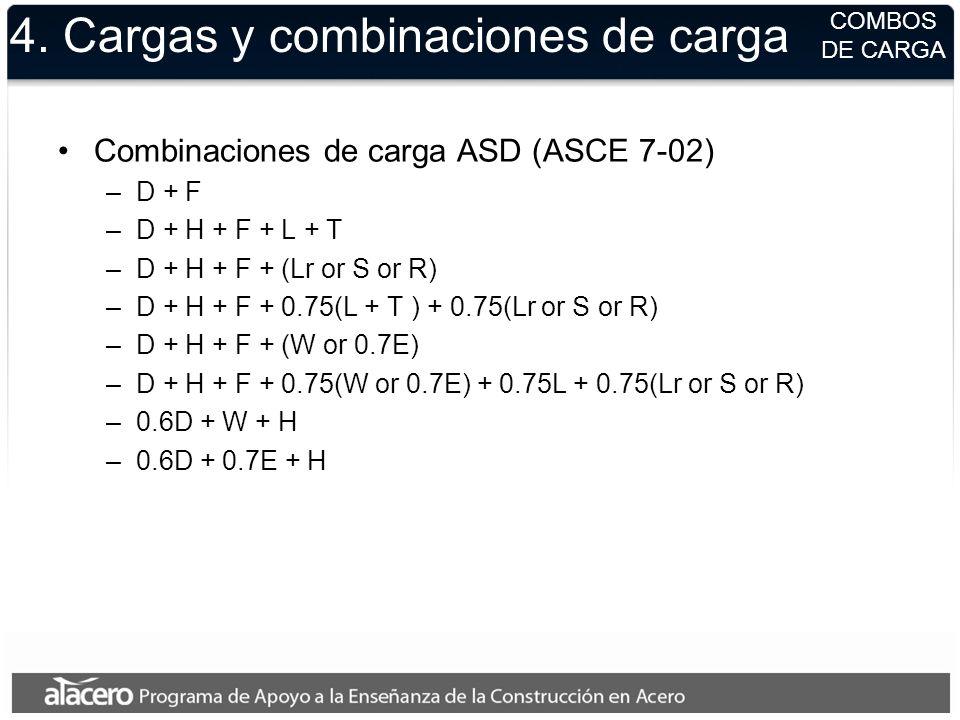 4. Cargas y combinaciones de carga Combinaciones de carga ASD (ASCE 7-02) –D + F –D + H + F + L + T –D + H + F + (Lr or S or R) –D + H + F + 0.75(L +