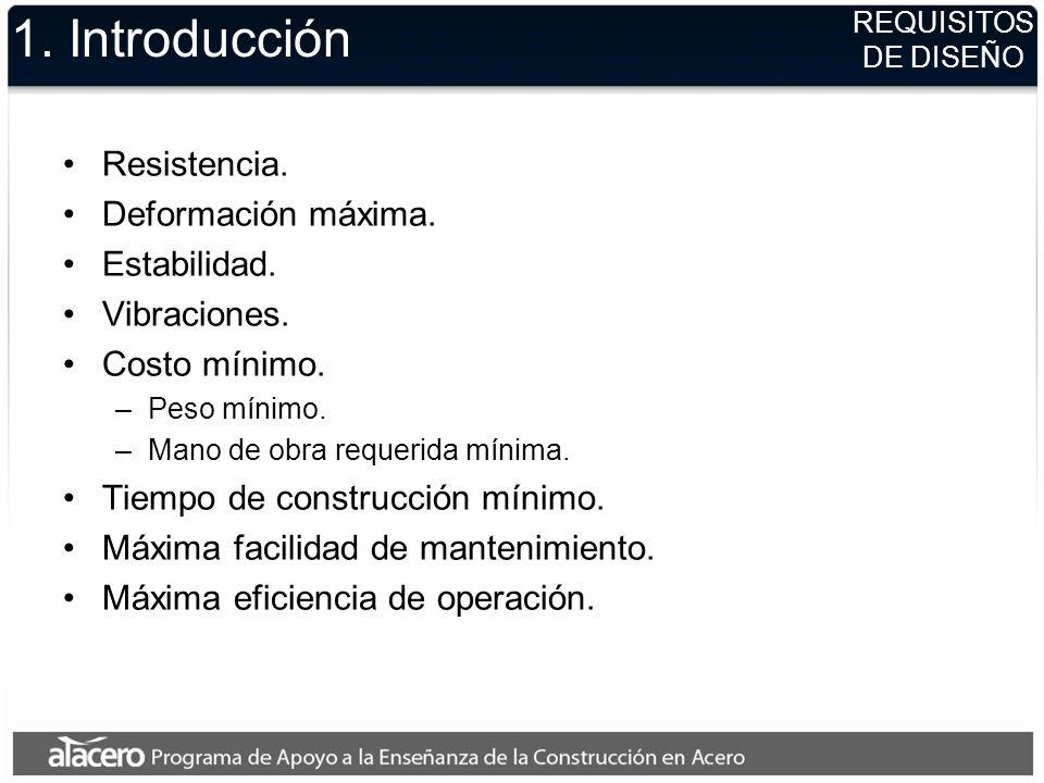 1. Introducción Resistencia. Deformación máxima. Estabilidad. Vibraciones. Costo mínimo. –P–Peso mínimo. –M–Mano de obra requerida mínima. Tiempo de c