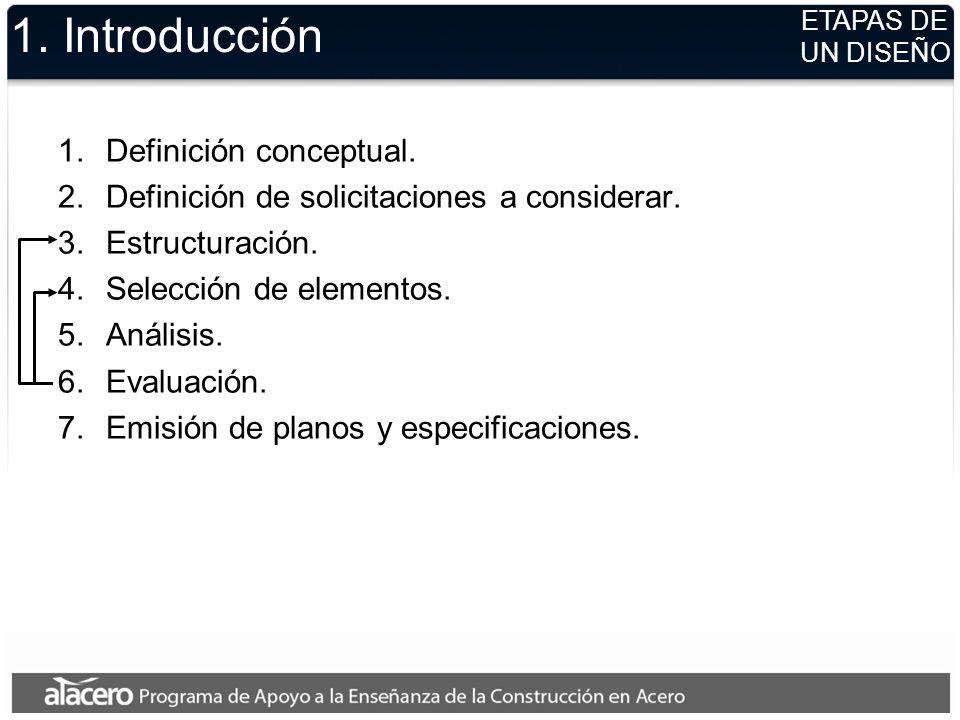 1. Introducción 1.Definición conceptual. 2.Definición de solicitaciones a considerar. 3.Estructuración. 4.Selección de elementos. 5.Análisis. 6.Evalua