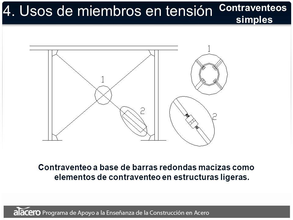 Contraventeos simples Contraventeo a base de barras redondas macizas como elementos de contraventeo en estructuras ligeras. 4. Usos de miembros en ten