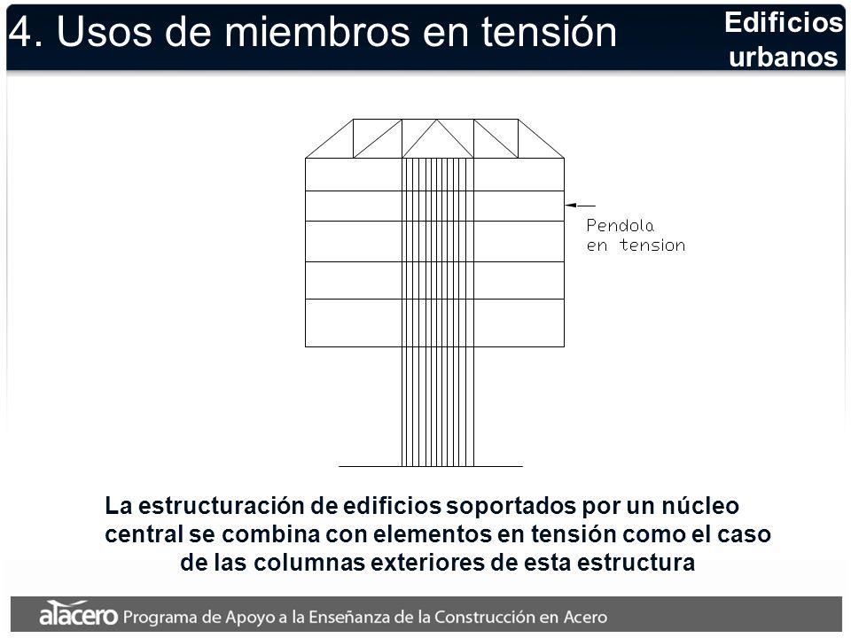 Cubiertas colgantes Las estructuras ligeras que salvan claros grandes, con mucha frecuencia se resuelven con miembros en tensión 4.