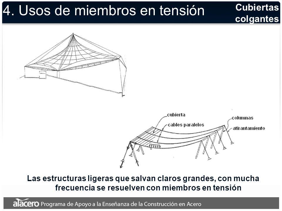 Cubiertas colgantes En las estructuras de grandes domos o cúpulas invertidas los miembros en tensión resultan muy convenientes 4.