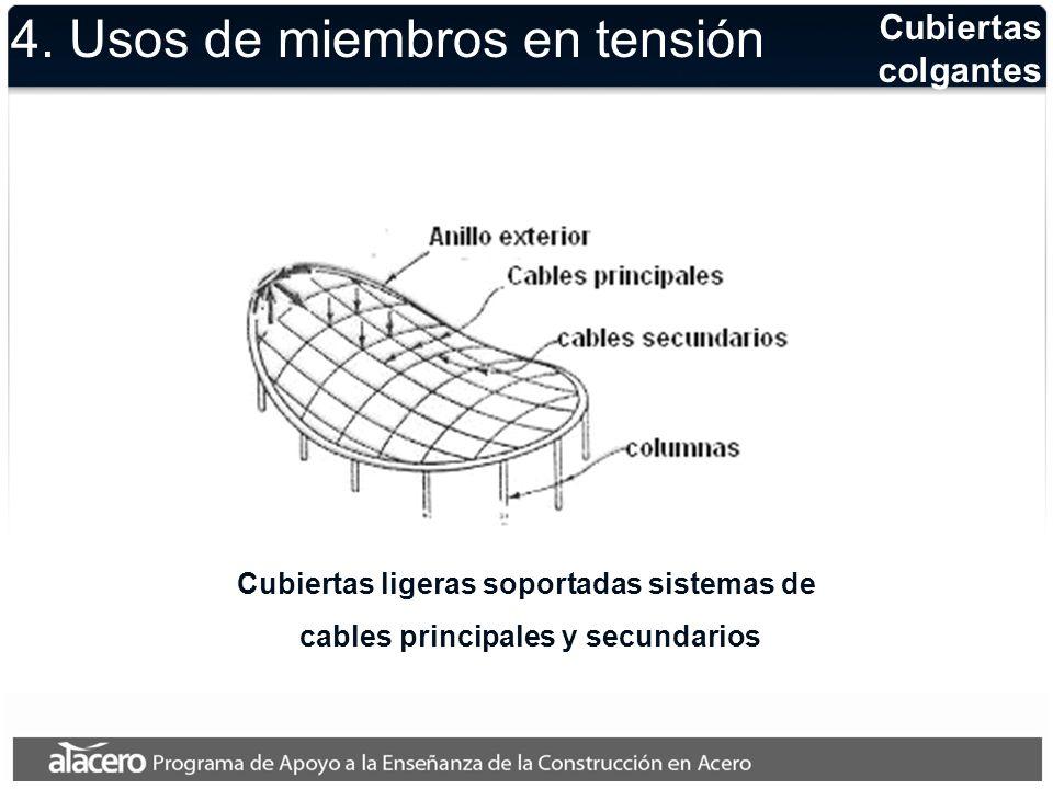 Estructuras espaciales Las estructuras tridimensionales modernas tienen una gran cantidad de barras trabajando a tensión 4.