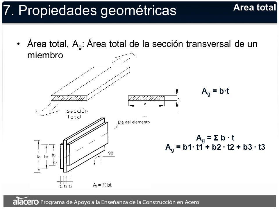 Area total A g = b·t 7. Propiedades geométricas Área total, A g : Área total de la sección transversal de un miembro A g = Σ b · t A g = b1· t1 + b2 ·