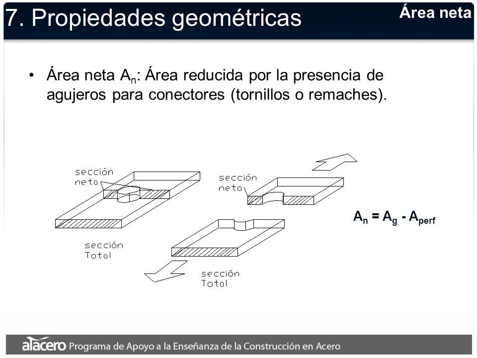 Área neta 7. Propiedades geométricas Área neta A n : Área reducida por la presencia de agujeros para conectores (tornillos o remaches). A n = A g - A