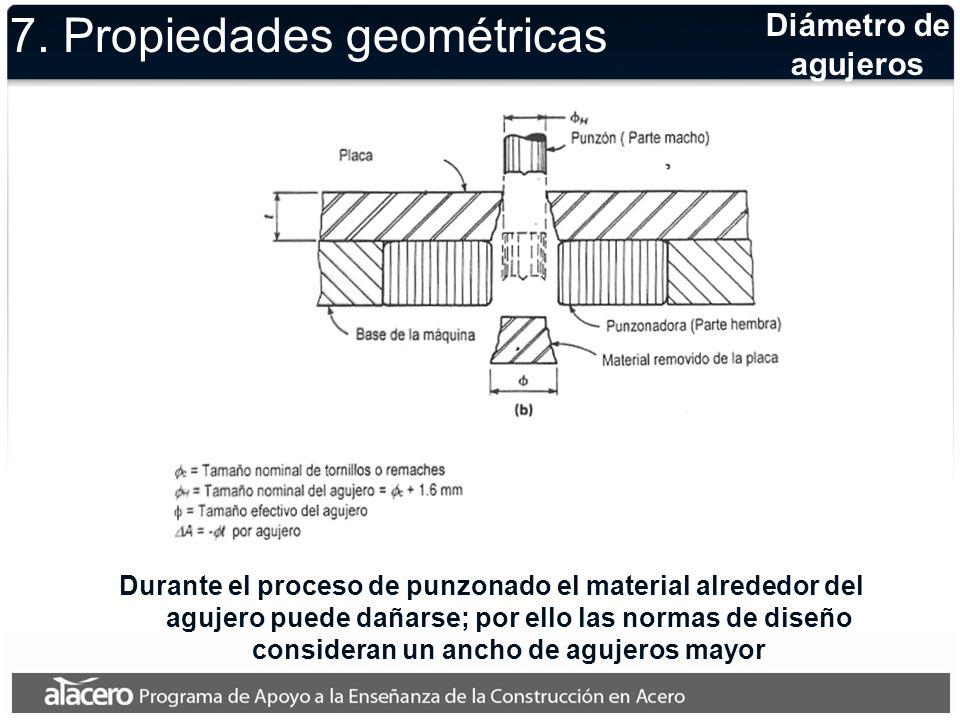 Diámetro de agujeros Durante el proceso de punzonado el material alrededor del agujero puede dañarse; por ello las normas de diseño consideran un anch