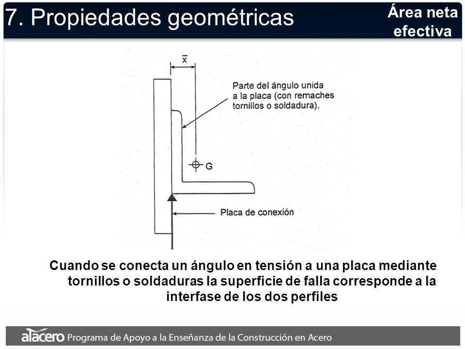 Área neta efectiva Definición de la excentricidad x usada para calcular la porción del área neta que contribuye a la resistencia de la sección 7.