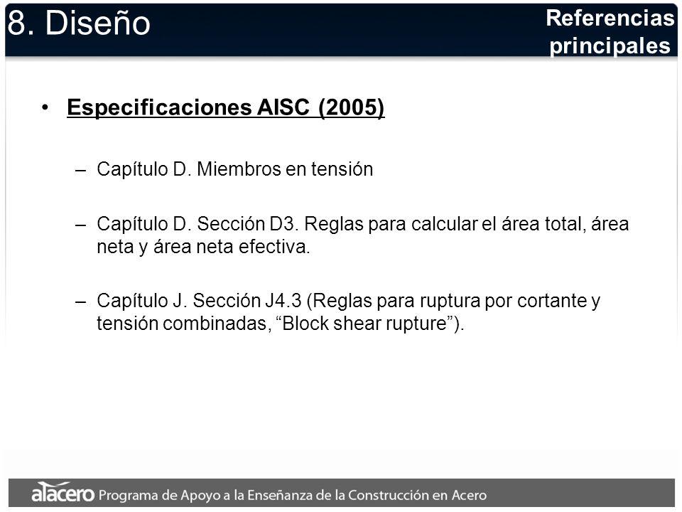 Recomendación: L / r 300 donde L: longitud del miembro r: radio de giro de la sección transversal del miembro Límite de esbeltez 8.