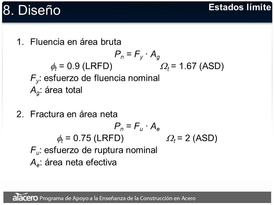 Sección D3, especificaciones AISC (2005) donde: A e = Área neta efectiva A n = Área neta U = Coeficiente de reducción del área que toma en cuenta el rezago por cortante Shear lag (U<1.0) Área neta efectiva 8.