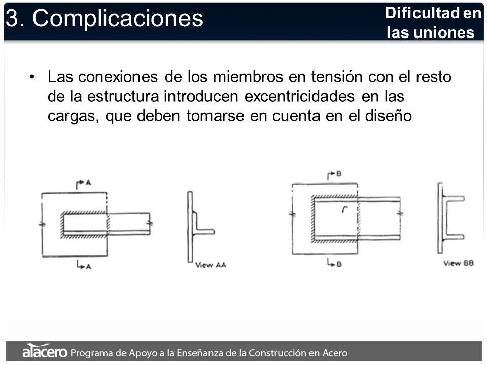Dificultad en las uniones 3. Complicaciones Las conexiones de los miembros en tensión con el resto de la estructura introducen excentricidades en las