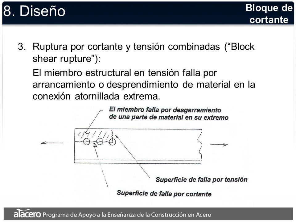 8. Diseño 3.Ruptura por cortante y tensión combinadas (Block shear rupture): El miembro estructural en tensión falla por arrancamiento o desprendimien