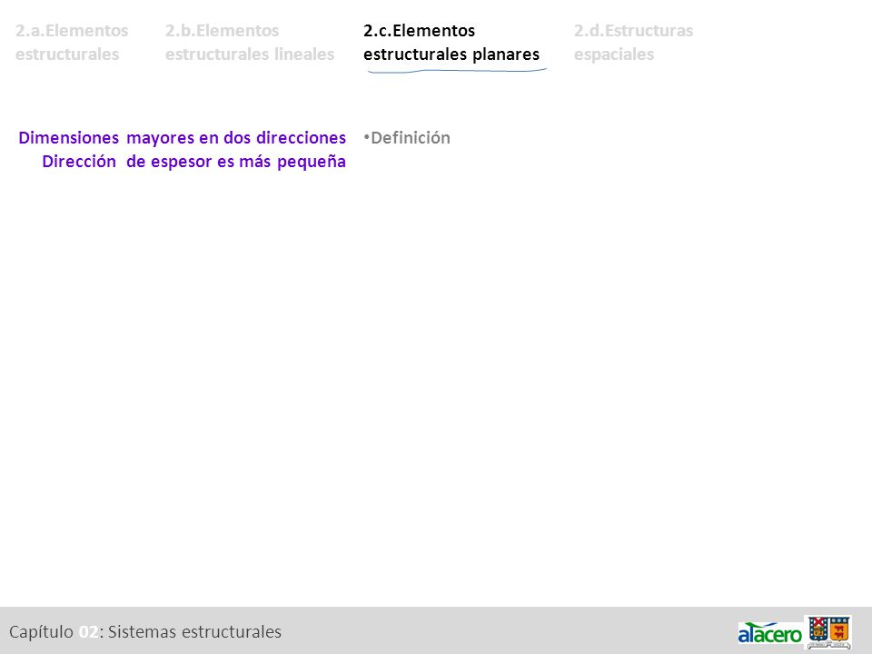 2.b.Elementos estructurales lineales Capítulo 02: Sistemas estructurales 2.a.Elementos estructurales 2.d.Estructuras espaciales 2.c.Elementos estructu
