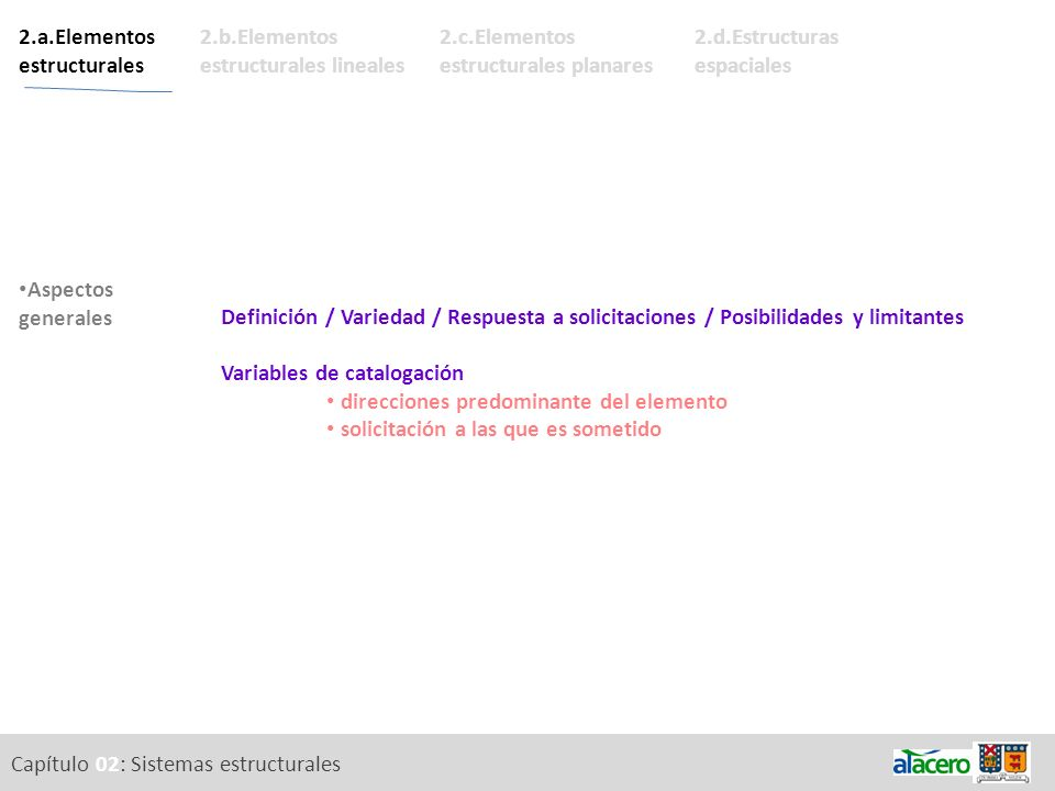 Capítulo 02: Sistemas estructurales 2.a.Elementos estructurales Descripción de los elementos. Descripción de las secciones. Aspectos generales 2.b.Ele