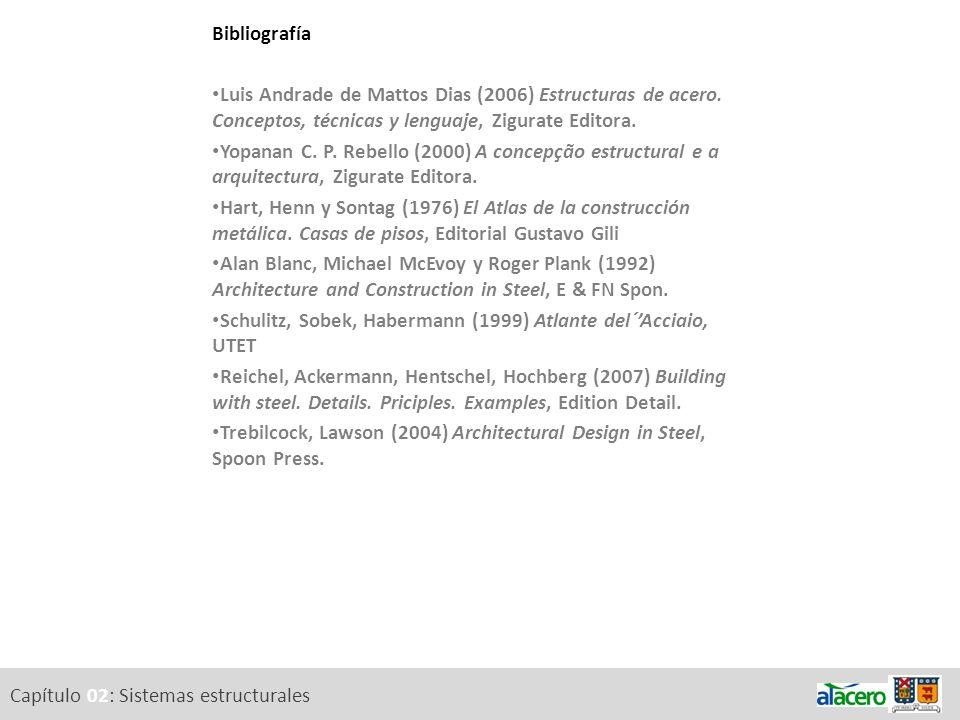 Capítulo 02: Sistemas estructurales Bibliografía Luis Andrade de Mattos Dias (2006) Estructuras de acero. Conceptos, técnicas y lenguaje, Zigurate Edi