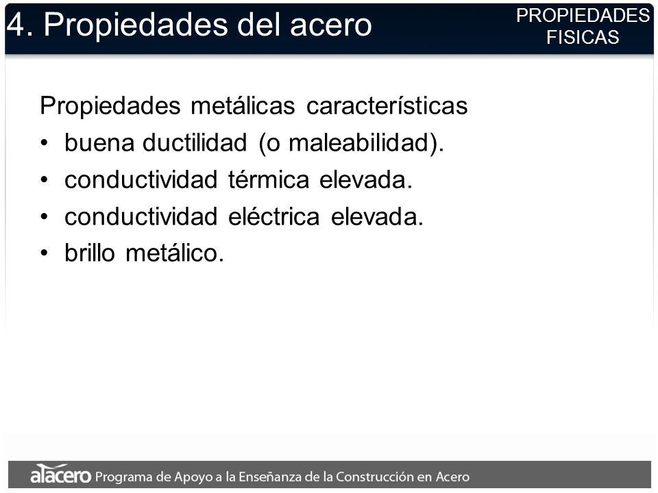 4. Propiedades del acero Propiedades metálicas características buena ductilidad (o maleabilidad). conductividad térmica elevada. conductividad eléctri
