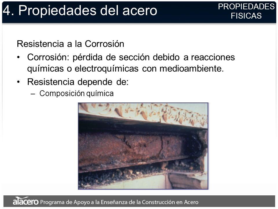 4. Propiedades del acero Resistencia a la Corrosión Corrosión: pérdida de sección debido a reacciones químicas o electroquímicas con medioambiente. Re