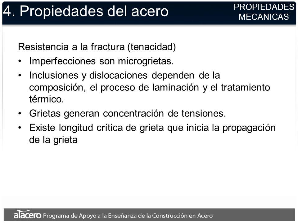 4. Propiedades del acero Resistencia a la fractura (tenacidad) Imperfecciones son microgrietas. Inclusiones y dislocaciones dependen de la composición