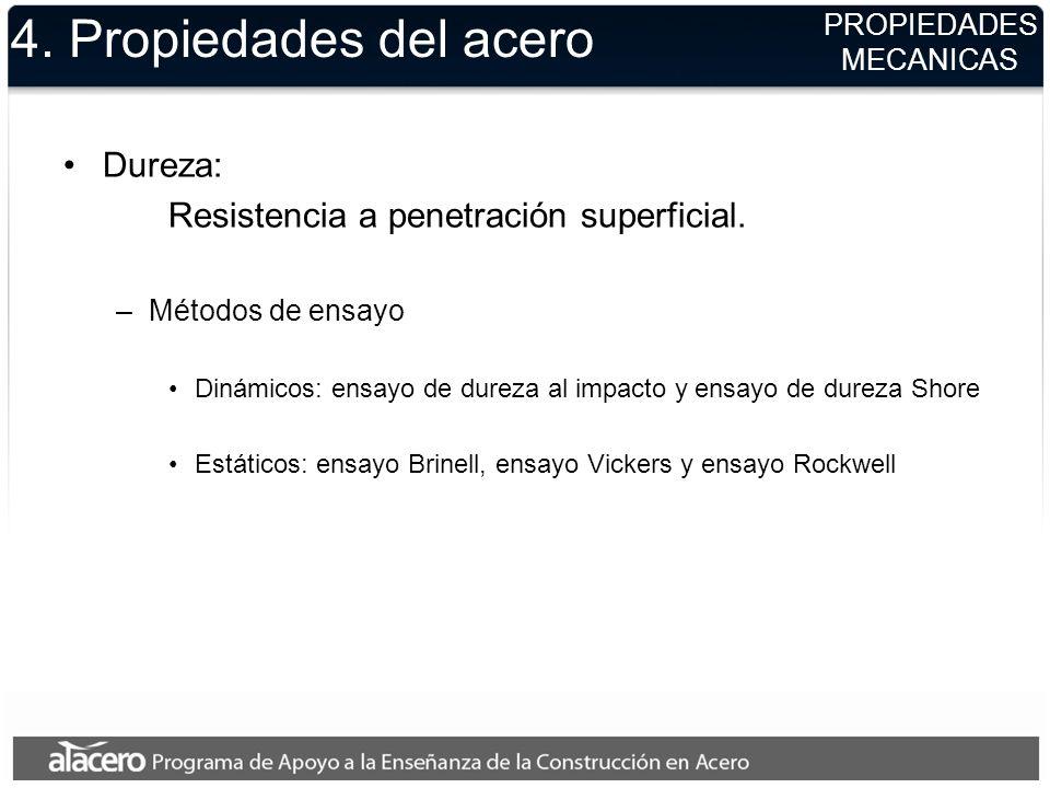 4. Propiedades del acero Dureza: Resistencia a penetración superficial. –Métodos de ensayo Dinámicos: ensayo de dureza al impacto y ensayo de dureza S