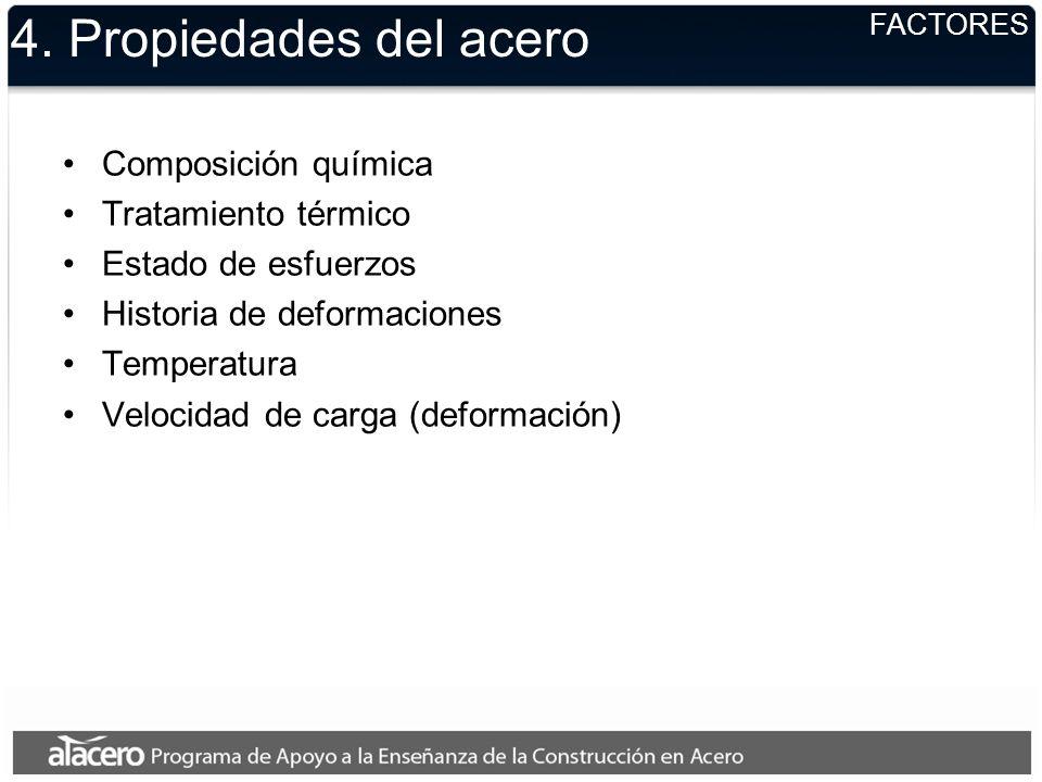 4. Propiedades del acero Composición química Tratamiento térmico Estado de esfuerzos Historia de deformaciones Temperatura Velocidad de carga (deforma