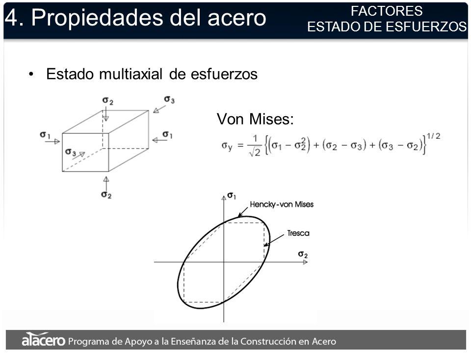 4. Propiedades del acero Estado multiaxial de esfuerzos Von Mises: FACTORES ESTADO DE ESFUERZOS