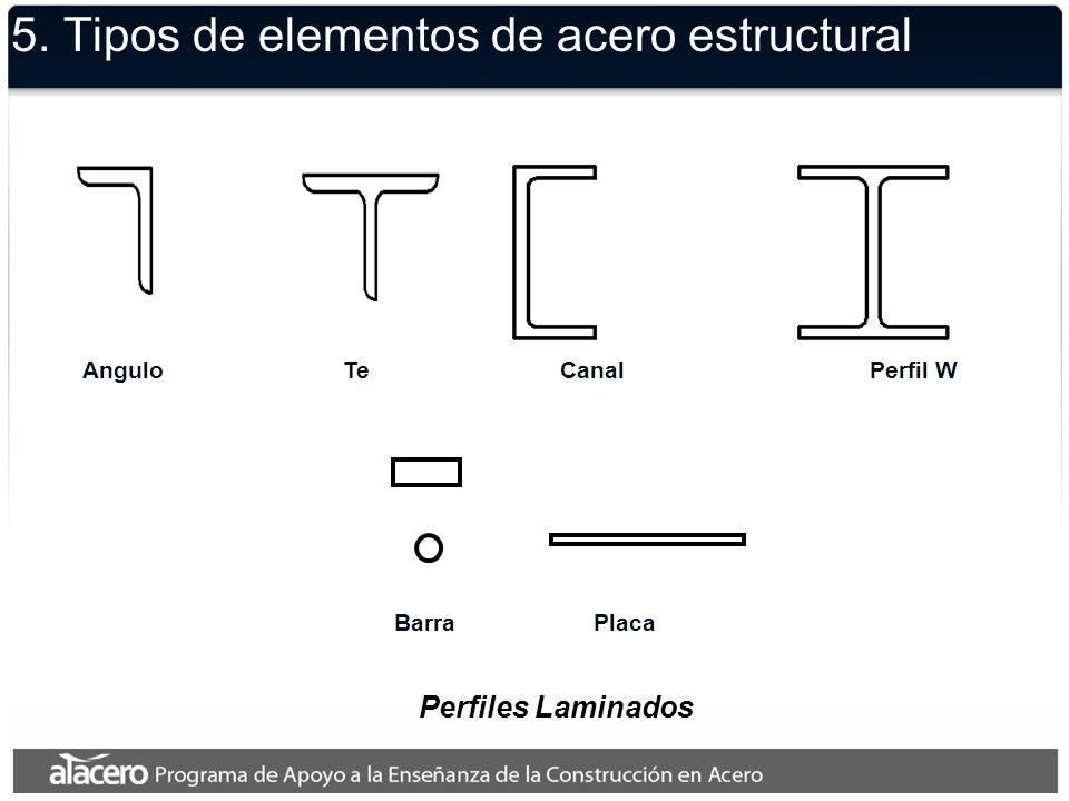 5. Tipos de elementos de acero estructural Perfiles Laminados AnguloTeCanalPerfil W BarraPlaca