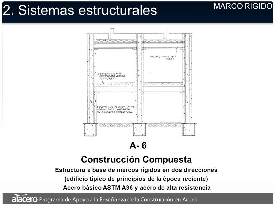2. Sistemas estructurales MARCO RIGIDO A- 6 Construcción Compuesta Estructura a base de marcos rígidos en dos direcciones (edificio típico de principi