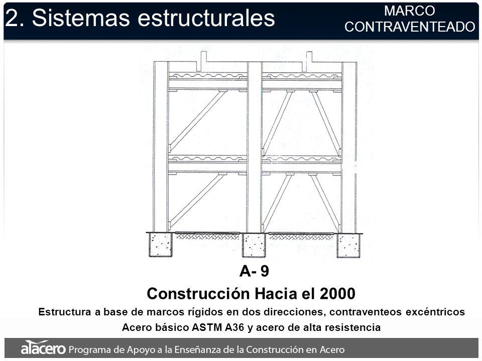 2. Sistemas estructurales MARCO CONTRAVENTEADO A- 9 Construcción Hacia el 2000 Estructura a base de marcos rígidos en dos direcciones, contraventeos e