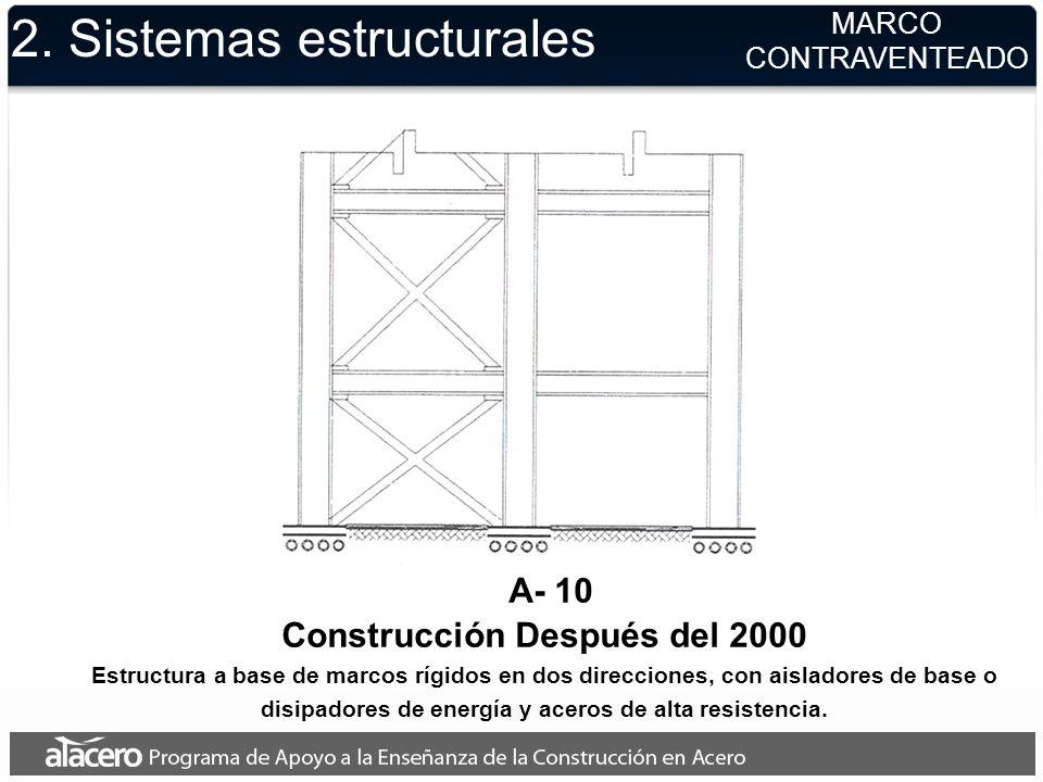 2. Sistemas estructurales MARCO CONTRAVENTEADO A- 10 Construcción Después del 2000 Estructura a base de marcos rígidos en dos direcciones, con aislado