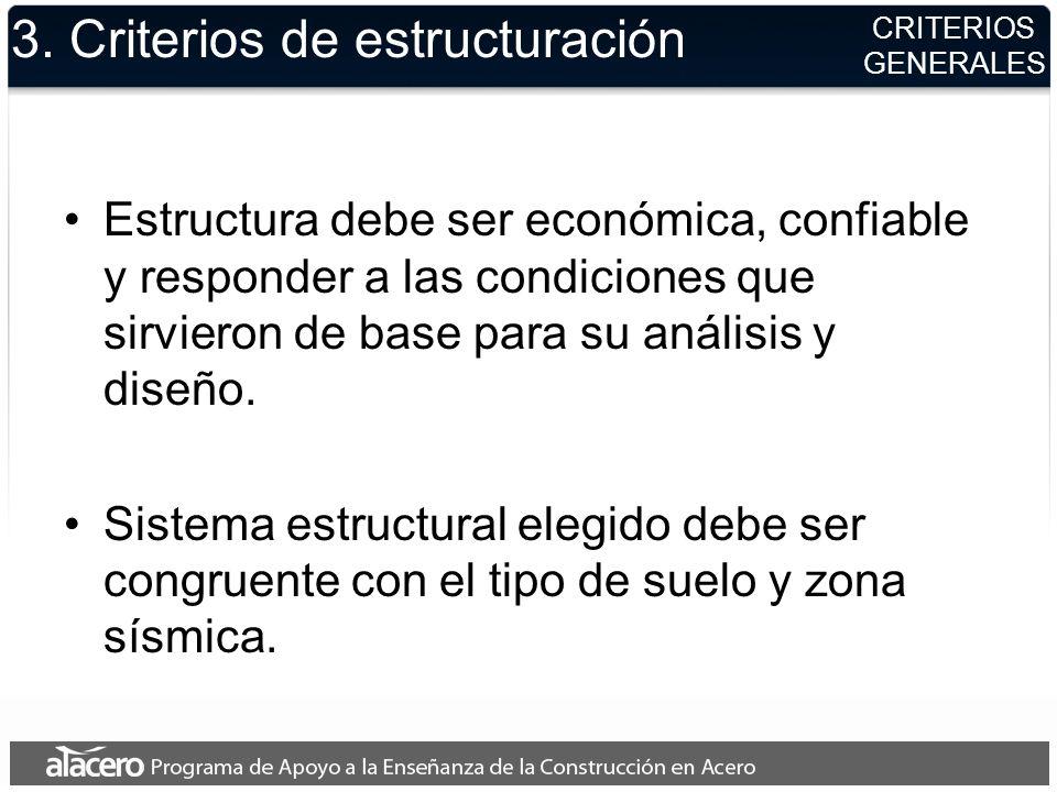 3. Criterios de estructuración Estructura debe ser económica, confiable y responder a las condiciones que sirvieron de base para su análisis y diseño.