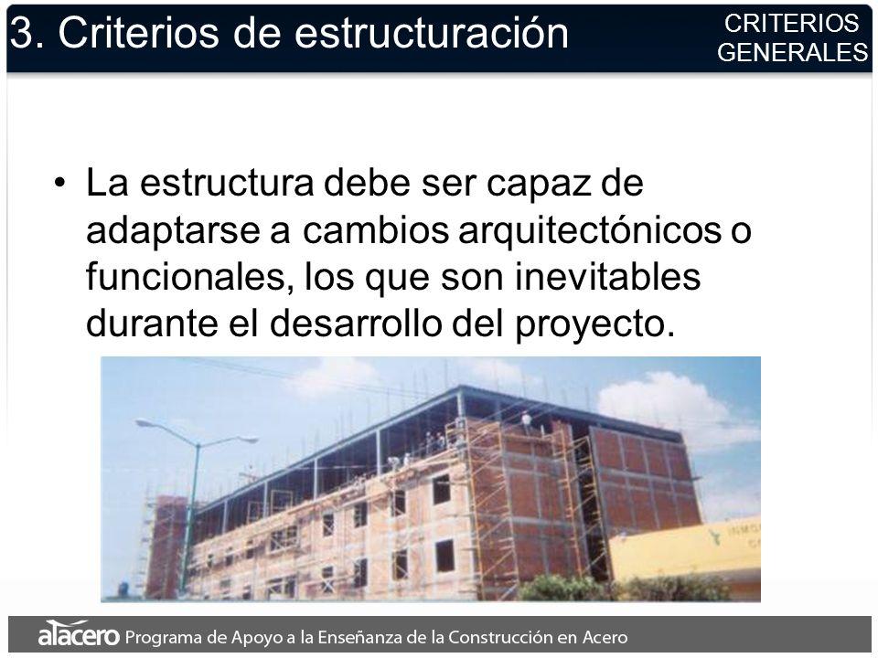 3. Criterios de estructuración La estructura debe ser capaz de adaptarse a cambios arquitectónicos o funcionales, los que son inevitables durante el d
