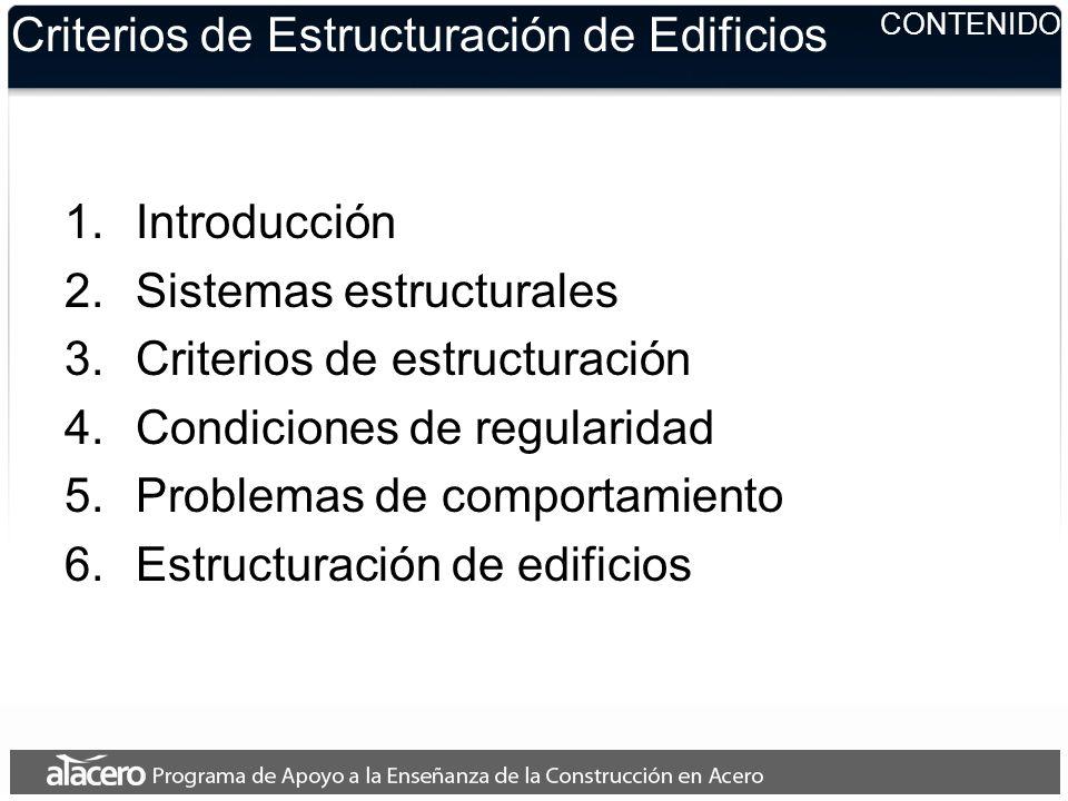 Criterios de Estructuración de Edificios 7.Diseño con perfiles de acero 8.Estructuración 1.Columnas 2.Vigas o trabes 3.Vigas Secundarias 4.Sistemas de piso 5.Conexiones 6.Detalles estructurales típicos CONTENIDO