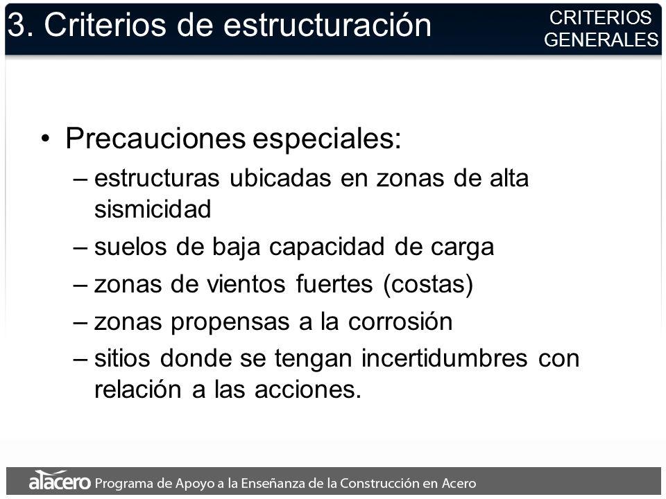 3. Criterios de estructuración Precauciones especiales: –estructuras ubicadas en zonas de alta sismicidad –suelos de baja capacidad de carga –zonas de
