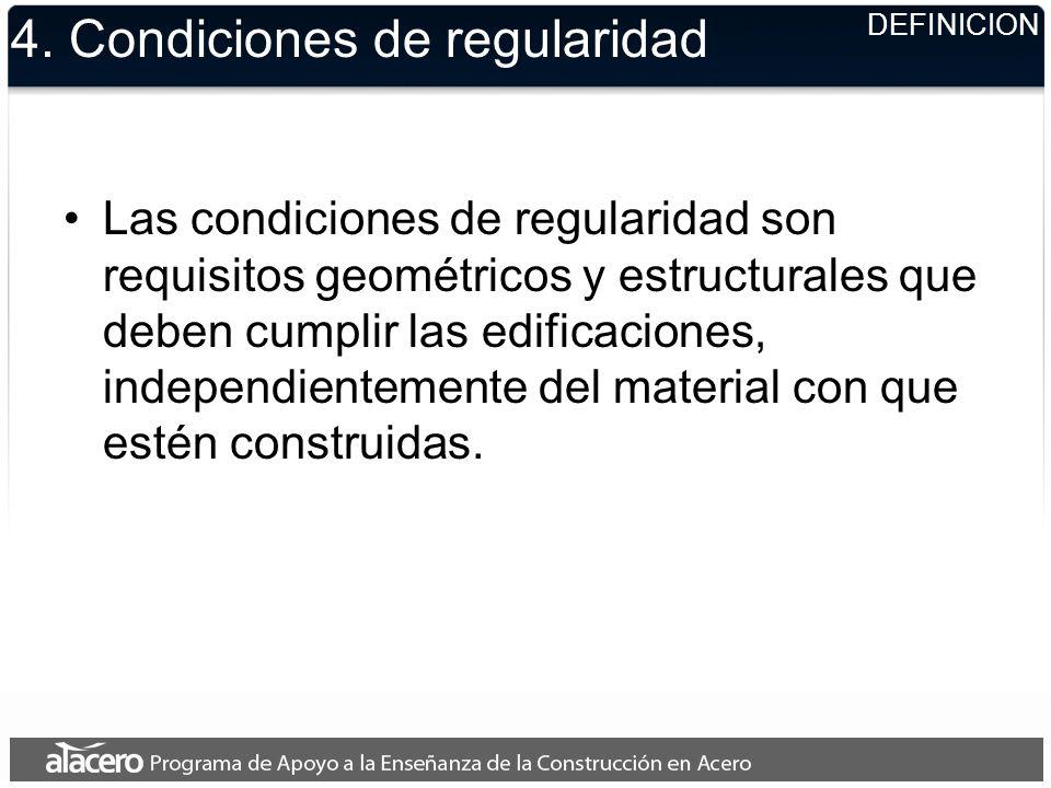 4. Condiciones de regularidad Las condiciones de regularidad son requisitos geométricos y estructurales que deben cumplir las edificaciones, independi