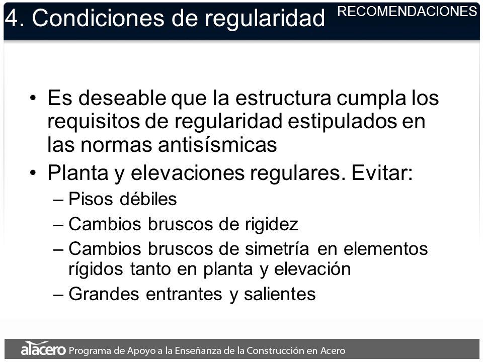 4. Condiciones de regularidad Es deseable que la estructura cumpla los requisitos de regularidad estipulados en las normas antisísmicas Planta y eleva