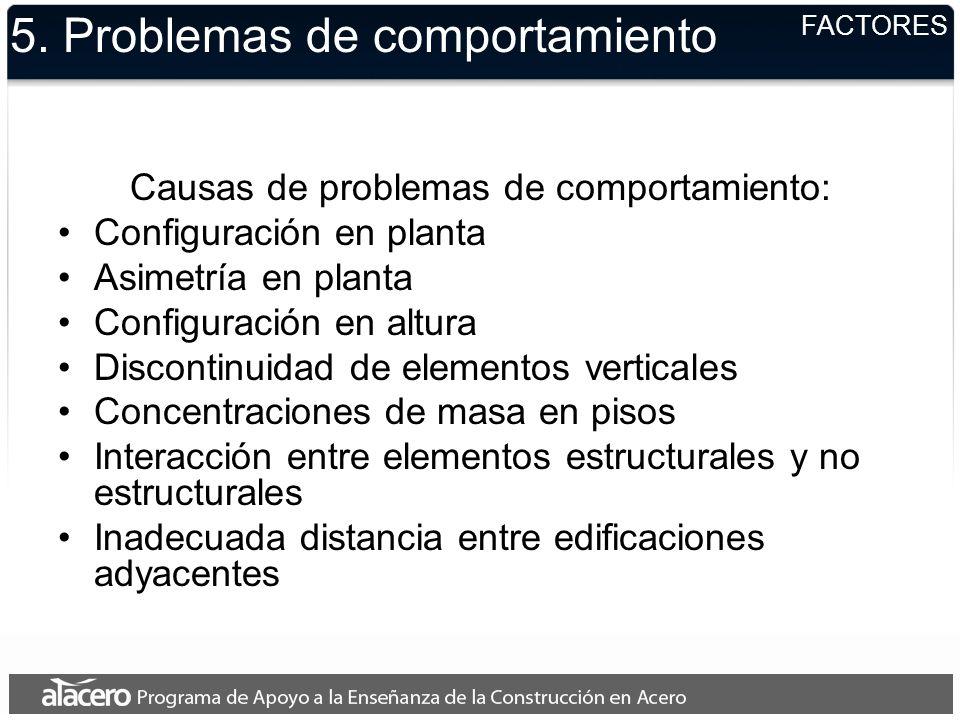 5. Problemas de comportamiento Causas de problemas de comportamiento: Configuración en planta Asimetría en planta Configuración en altura Discontinuid