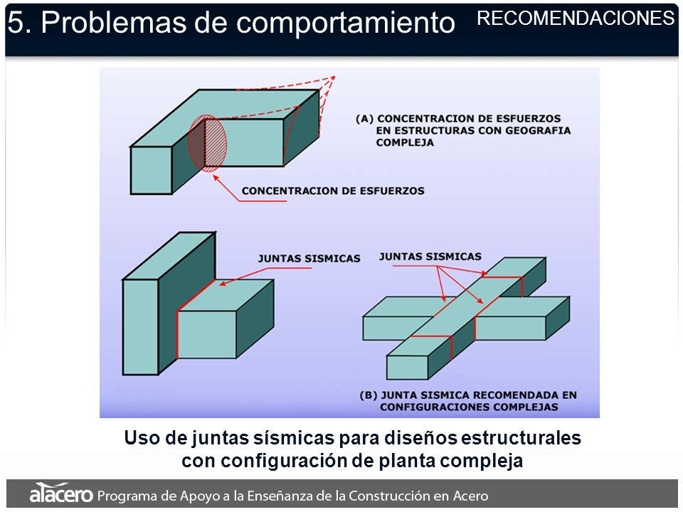5. Problemas de comportamiento RECOMENDACIONES Uso de juntas sísmicas para diseños estructurales con configuración de planta compleja