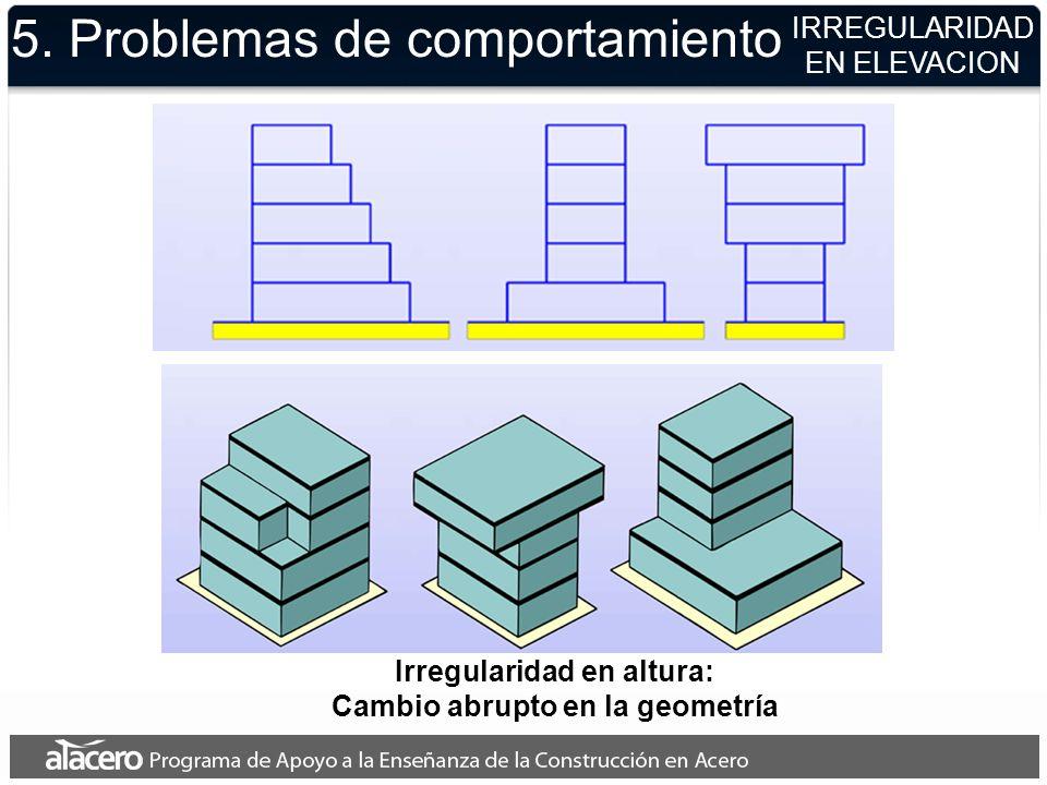 5. Problemas de comportamiento IRREGULARIDAD EN ELEVACION Irregularidad en altura: Cambio abrupto en la geometría