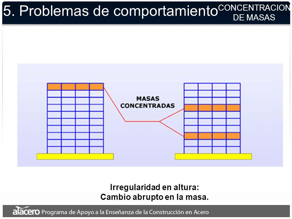 5. Problemas de comportamiento CONCENTRACION DE MASAS Irregularidad en altura: Cambio abrupto en la masa.