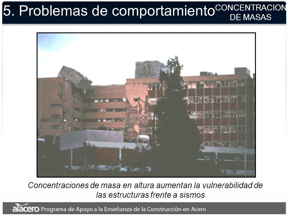 5. Problemas de comportamiento CONCENTRACION DE MASAS Concentraciones de masa en altura aumentan la vulnerabilidad de las estructuras frente a sismos