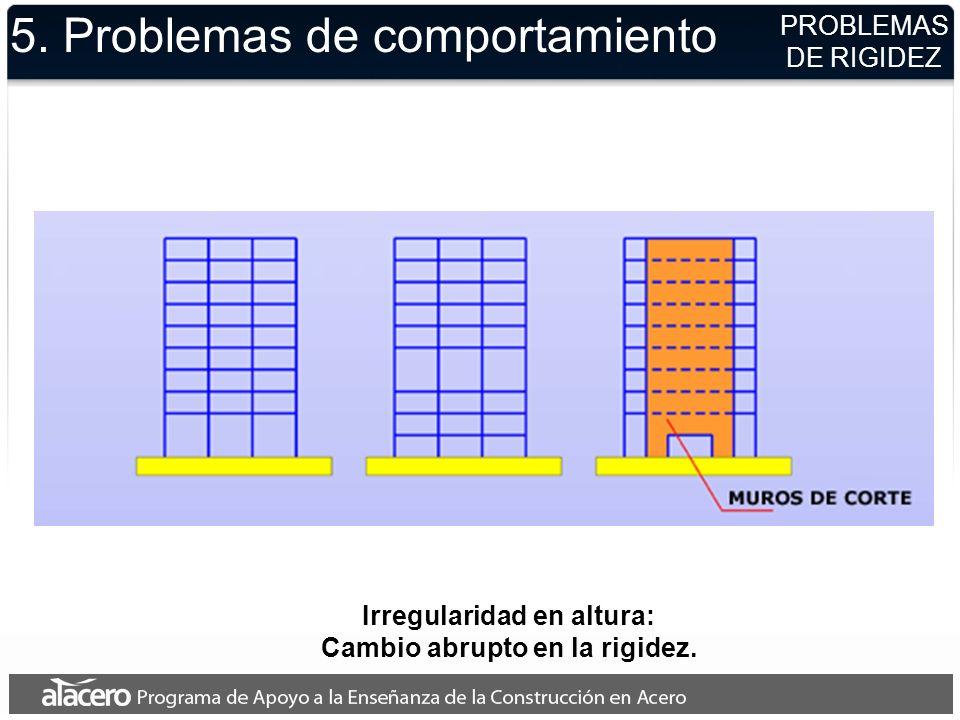 5. Problemas de comportamiento PROBLEMAS DE RIGIDEZ Irregularidad en altura: Cambio abrupto en la rigidez.