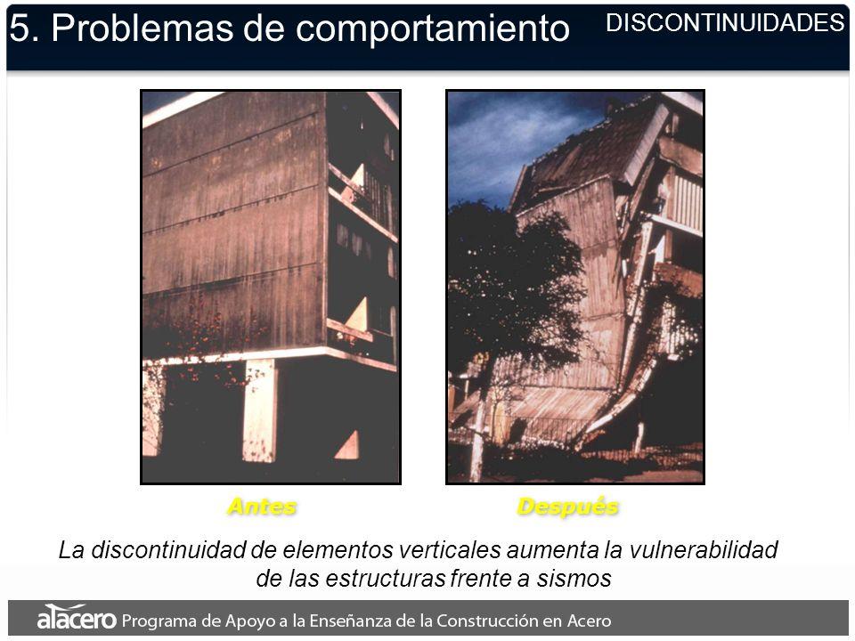 Antes Después La discontinuidad de elementos verticales aumenta la vulnerabilidad de las estructuras frente a sismos 5. Problemas de comportamiento DI