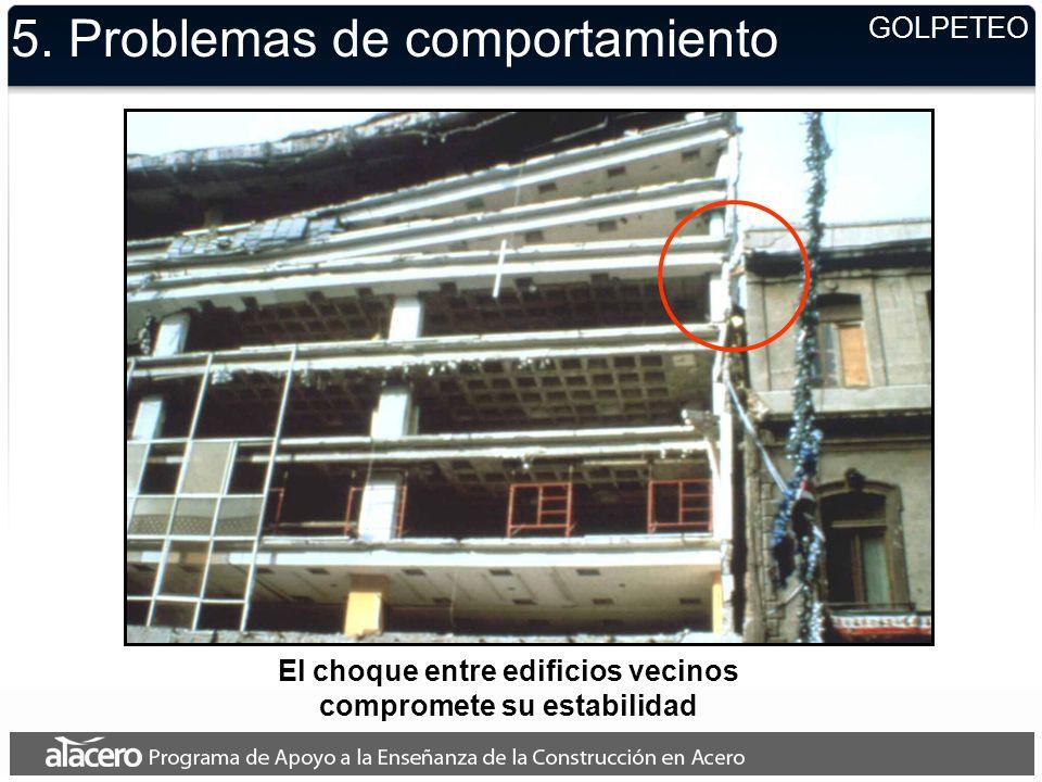 El choque entre edificios vecinos compromete su estabilidad 5. Problemas de comportamiento GOLPETEO