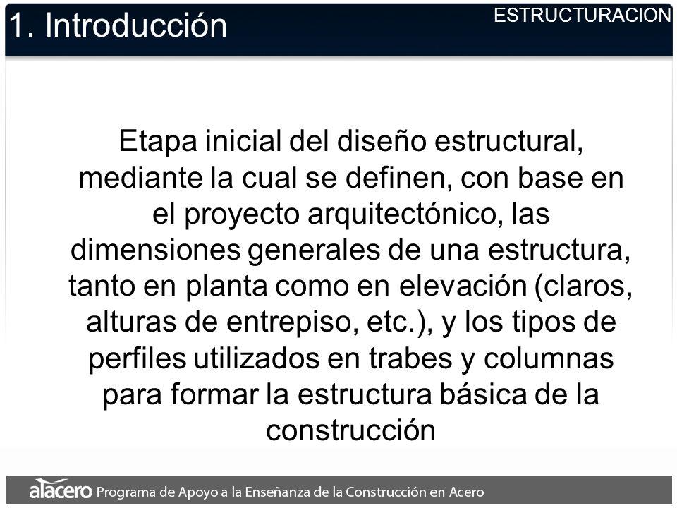 ESTRUCTURACION 1. Introducción Etapa inicial del diseño estructural, mediante la cual se definen, con base en el proyecto arquitectónico, las dimensio