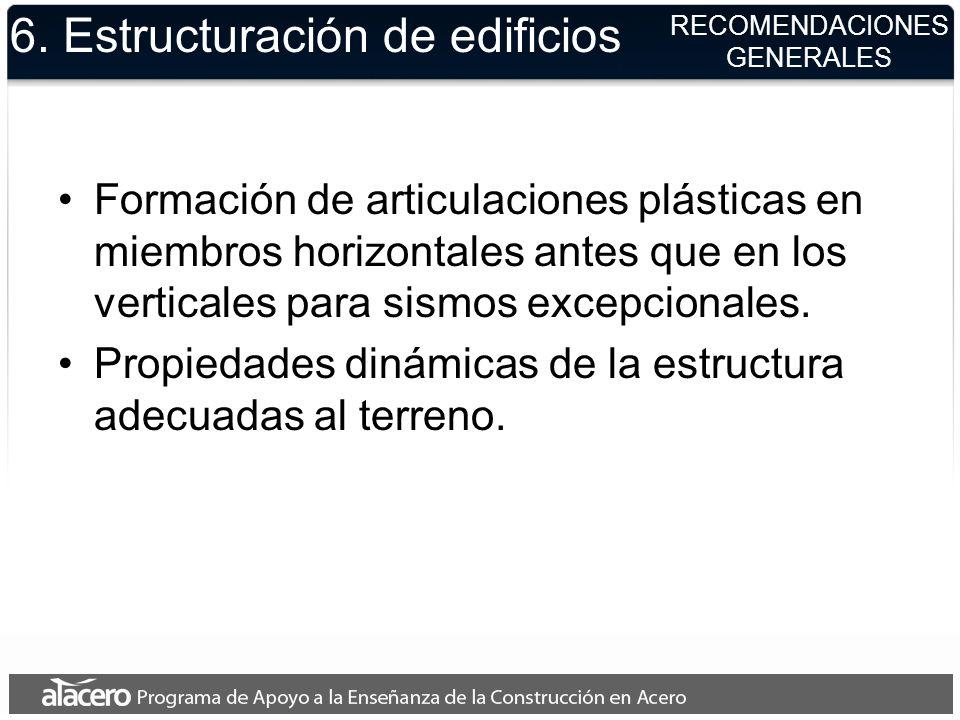 6. Estructuración de edificios Formación de articulaciones plásticas en miembros horizontales antes que en los verticales para sismos excepcionales. P